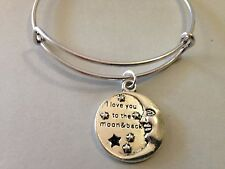I Love You to the Moon and Back Bracelet Charm Bangle SILVER Inspire Star Couple