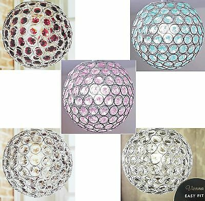Crystal Ceiling Pendant Light Shade Chrome Ball Clear Turquoise Plum Green New