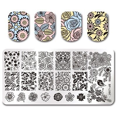 Nail Art Stamp Plate Manicure Image Template Floral Pattern BPL-66 BORN PRETTY