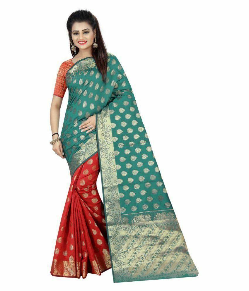 Green & Red Silk Saree Party Wear Indian Pakistani Ethnic Wedding Designer Sari