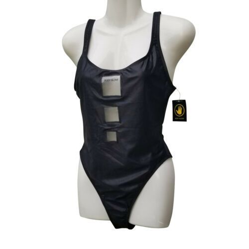 Body Glove Wetlook One Piece Swimsuit High Leg Low Back Plastic Cut Out Black