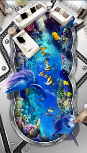3D Art Dolphin Design 8 Floor Wall Paper Murals Wall Print AJ WALLPAPER UK Lemon