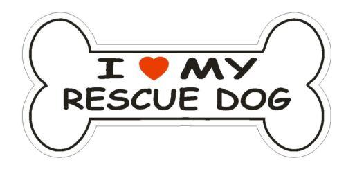 Love My Rescue Dog Bumper Sticker or Helmet Sticker D2397 Dog Bone Pet Lover