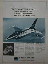 5/75 PUB HOWMET GAS TURBINE COMPONENTS US AIR FORCE YF-16 F-16 F100 ENGINE AD