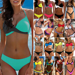 efabd69469e 2Pcs Padded Bra Bikini Set Swimsuit Womens Push-up Color Block ...