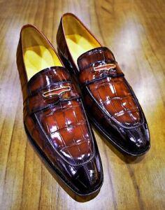 Mocassins en cuir véritable marron pour hommes faits à la main