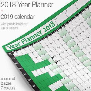 Year-Planner-Wall-Chart-Wall-Planner-Poster-2018-Chart-2019-Calendar-GREEN