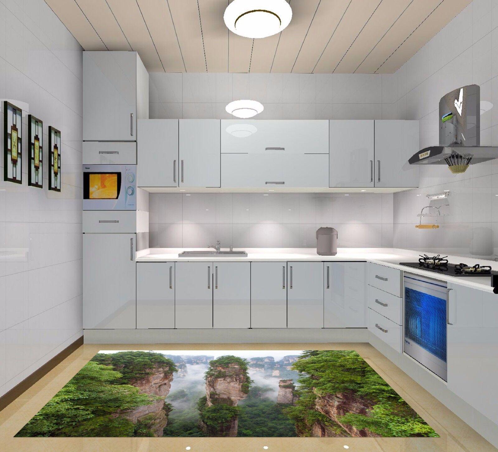3D Misty Mountain Kitchen Mat Floor Murals Wall Print Wall Deco AJ WALLPAPER AU