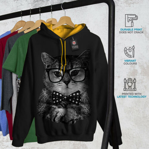 Man oro Cat contrasto uomo Felpa con Fun cappuccio hipster nero cappuccio xvwx7qX
