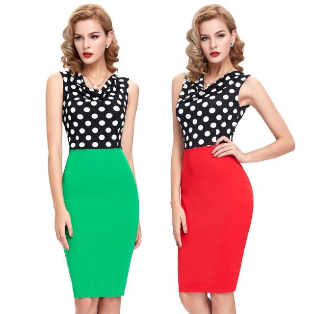 Lady Formal Pencil Vintage Polka Dot WORK Bodycon Fit Party Shift Sheath Dress