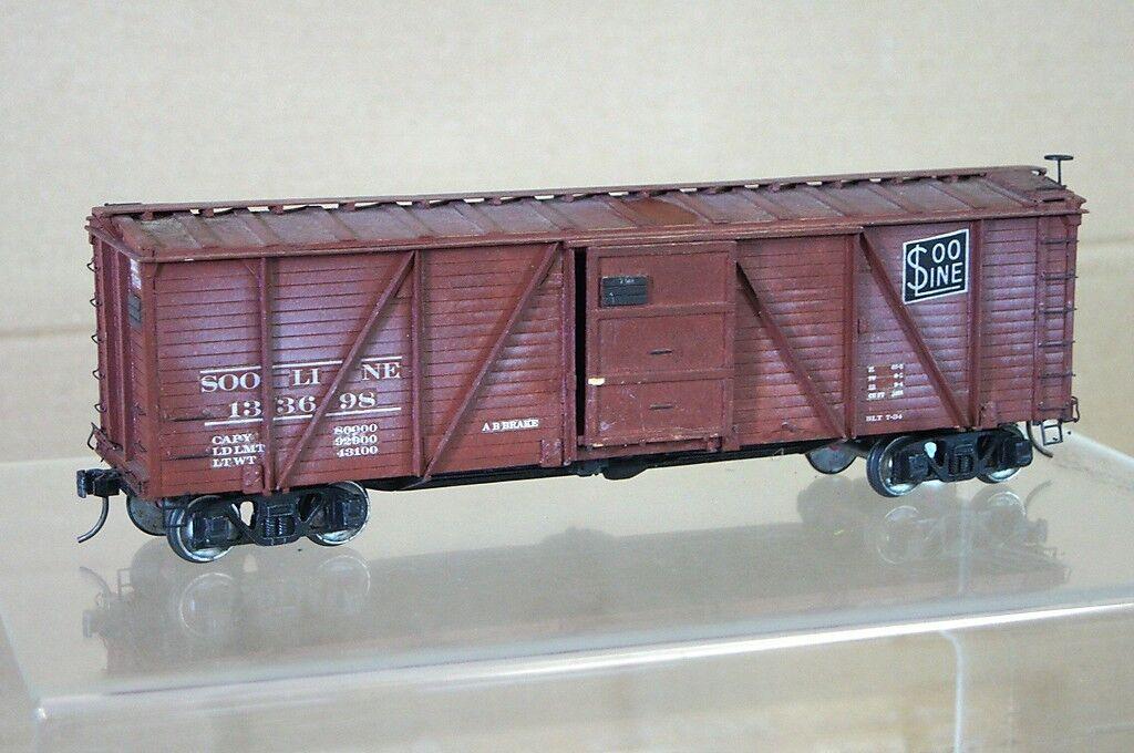 O GAUGE KIT BUILT 2 RAIL SOO LINE SL 40' SINGLE DOOR WOODSIDE BOXCAR WEATHErot q