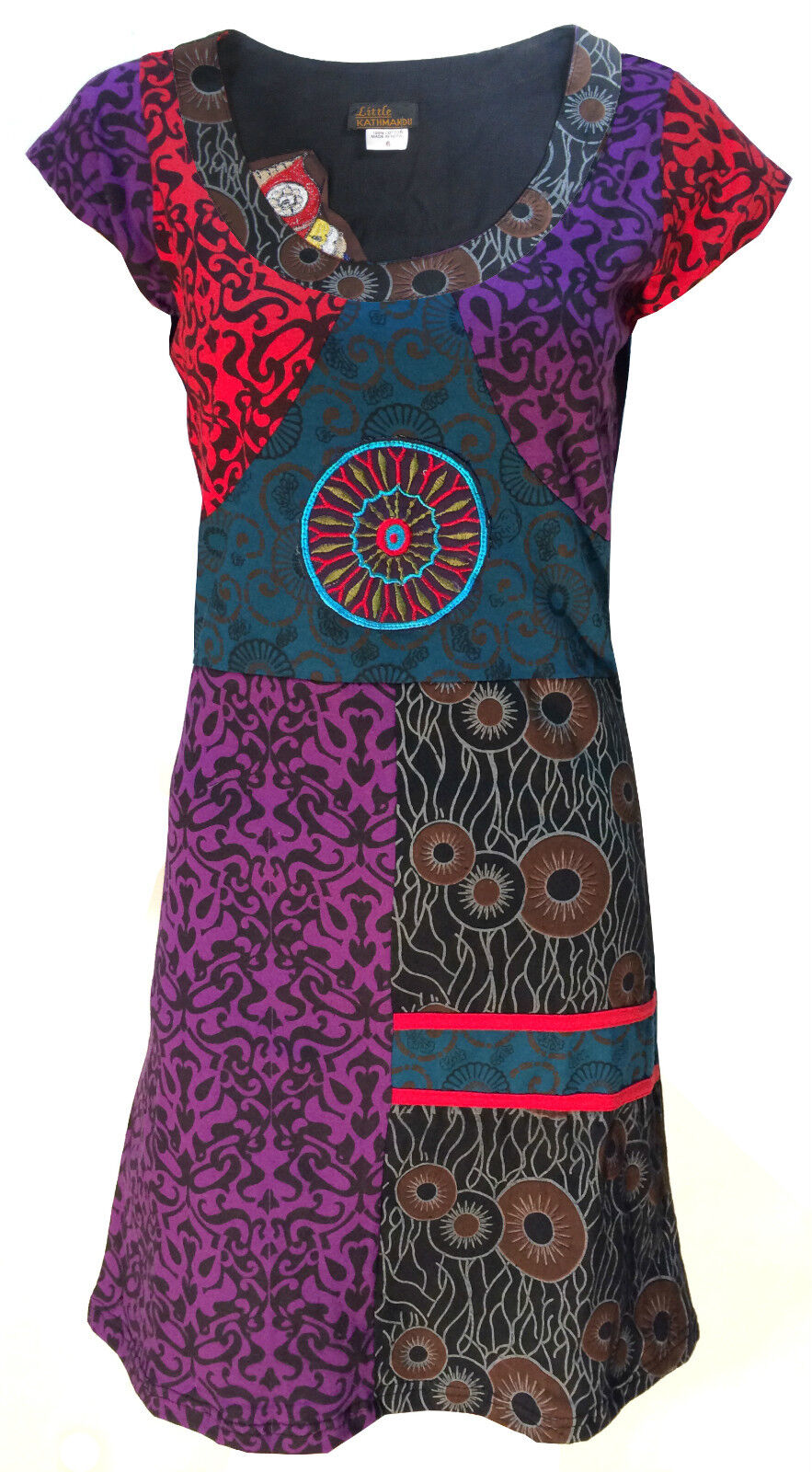 Handmade Cotton Hippie Natural Kathmandu Boho Retro Psychedelic Dress
