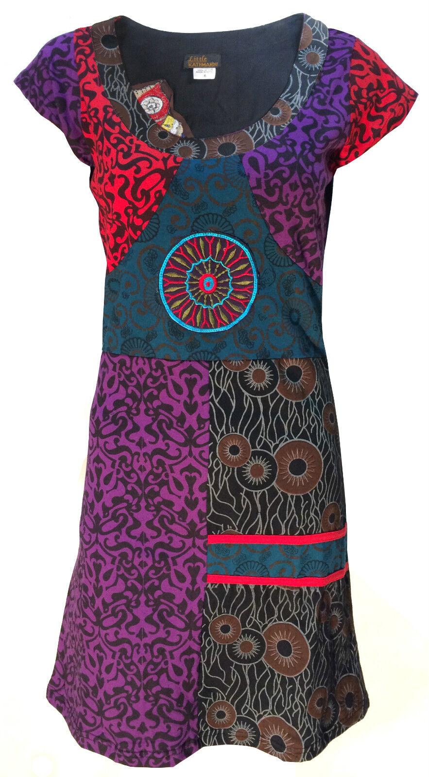 Coton Fait Main Hippie Naturel Kathommedou Boho Rétro Psychédélique Robe