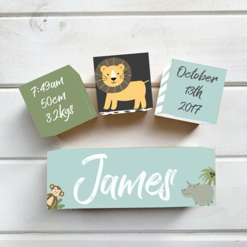 WOODEN BIRTH BLOCK NURSERY NAME SET PERSONALISED TO YOUR Jungle Dots