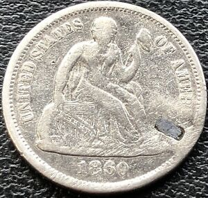 1860 O Seated Liberty Dime 10c RARE KEY DATE Better Grade New Orleans #15088