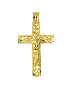 14K-Solid-Yellow-Gold-Filigree-Diamond-Cut-Jesus-Cross-Crucifix-Pendant