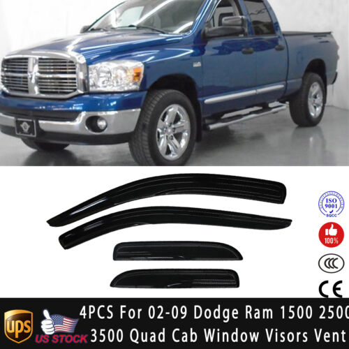 For 02-08 Dodge Ram 1500 Quad Cab Window Sun Deflectors Rain Guards Visors Vent