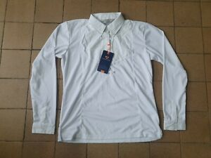 Aubrion long Sleeve Tie Show Shirt UK 16 18 extra large XL white hunting jumping