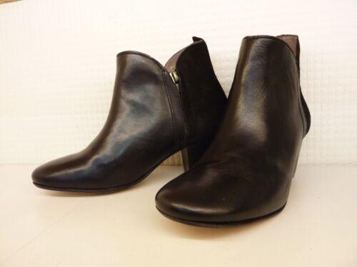 H by Hudson Carillon Noir Cuir Daim Détail Talon Bottines Chaussures