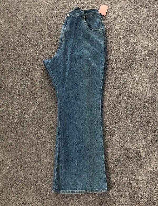 NEW Ulla Popken Inspirations 1X Boot Cut Light Denim Jeans Pants. Short ULA 334