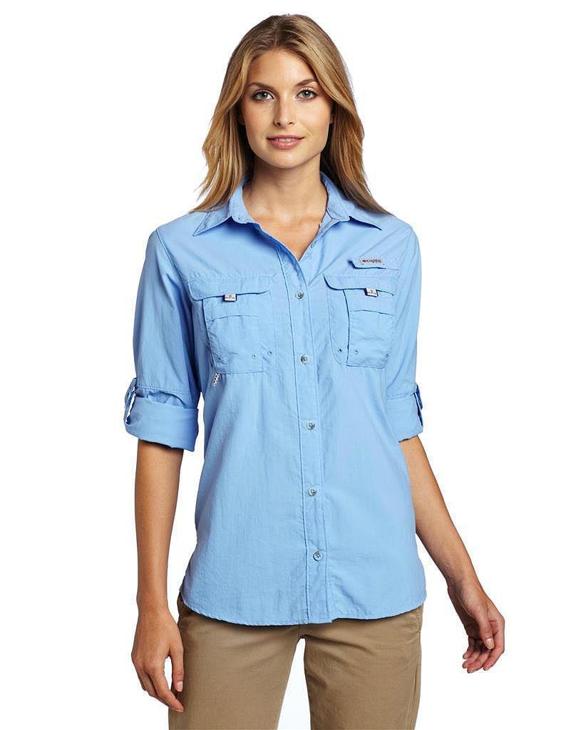 NEW  Columbia Women's Bahama Long-Sleeve Nylon Shirt blueE in Large Size  leisure