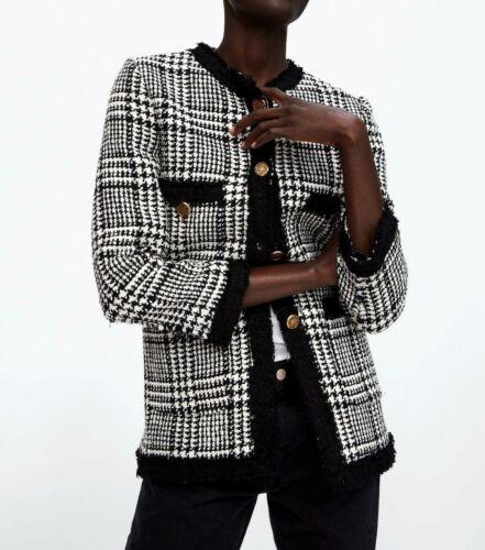 Black Frayed Taglia Zara Tweed lungo M Blazer Ecru 8zxwtqx4