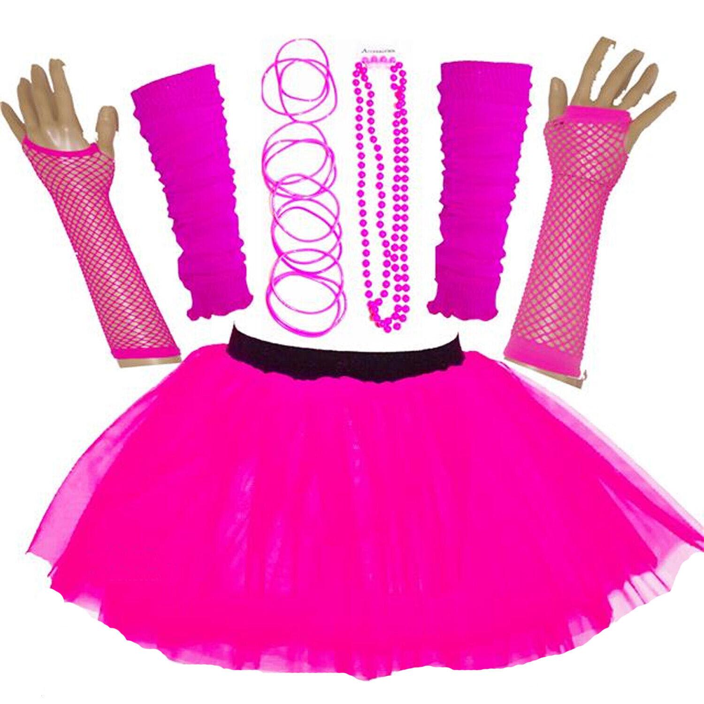 NEW WOMEN/'S NEON TUTU SKIRT HEN PARTY 80/'S FANCY DRESS ACCESSORIES BANGLES RED