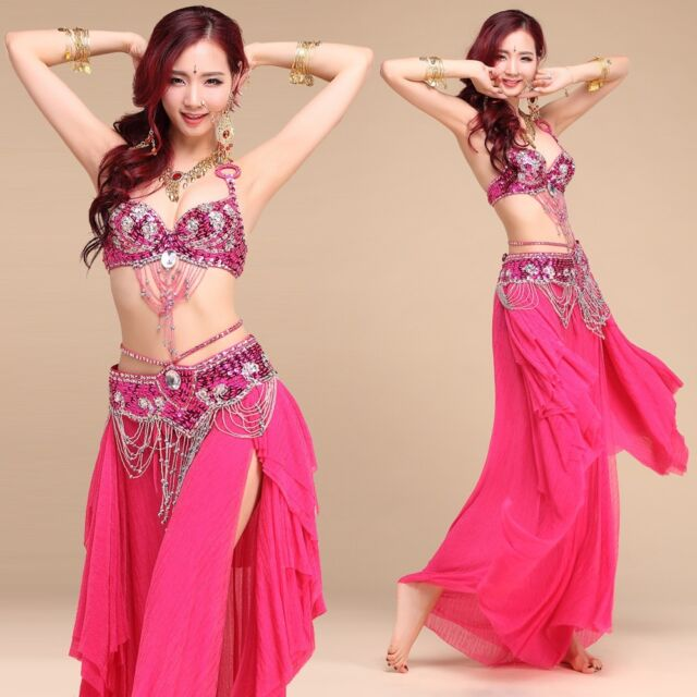 3 PCS New style Belly Dance Costume Beaded Top Bra Belt Skirt 6 Colors