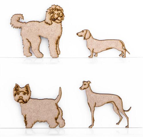 Wooden MDF 3mm Thick Dog Embellishment Design Labradoodle Greyhound