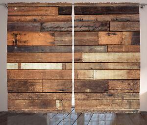 Rustic Curtains Digital Wood Panels Window Drapes 2 Panel Set 108x84 Inches