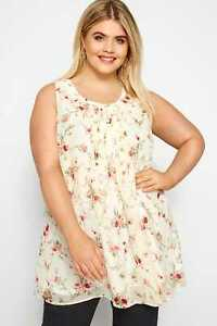 Yours Clothing Women/'s Plus Size Cream Floral Print Chiffon Vest Top