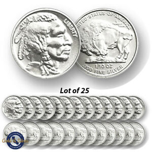 Lot-of-25-New-1-10-oz-Indian-Buffalo-Design-999-Fine-Silver-Rounds