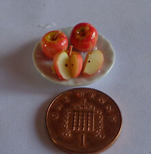 1:12 Scale Slice Apple On A Plate Doll house Miniature  , Kitchen