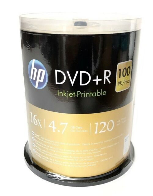 100 HP DVD+R 16X Blank DVDR 4.7GB White Inkjet Hub Printable Disc Spindle