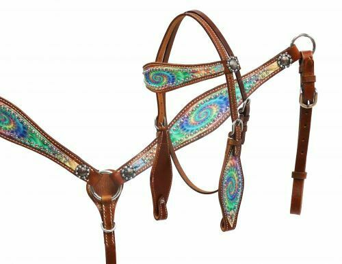 Showman PONY  Size Psychedelic Swirl RAINBOW Leather Bridle BreastCollar Rein Set  wholesale cheap and high quality