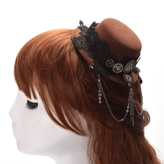 1pc Vintage Gear Lace Tassels Mini Hat Hair Clip Steampunk Gothic Headwear