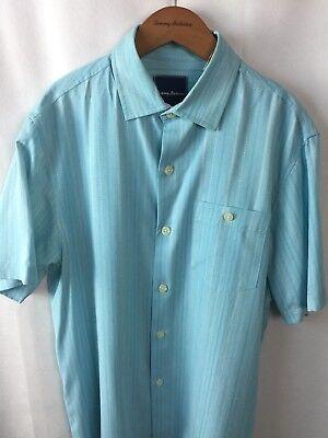 Tommy Bahama Zaldera Stripe BT315922 Graceful Sea Silk Short Sleeve Shirt NWT