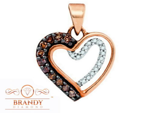 Details about  /Brandy Diamond® Chocolate Brown 10K Gold Floating Heart Necklace Pendant .22Ct