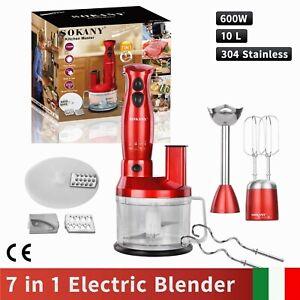 Elettrico Frullatore 600W Frullatori a immersione minipimer 7 in 1 Mixer,Rosso