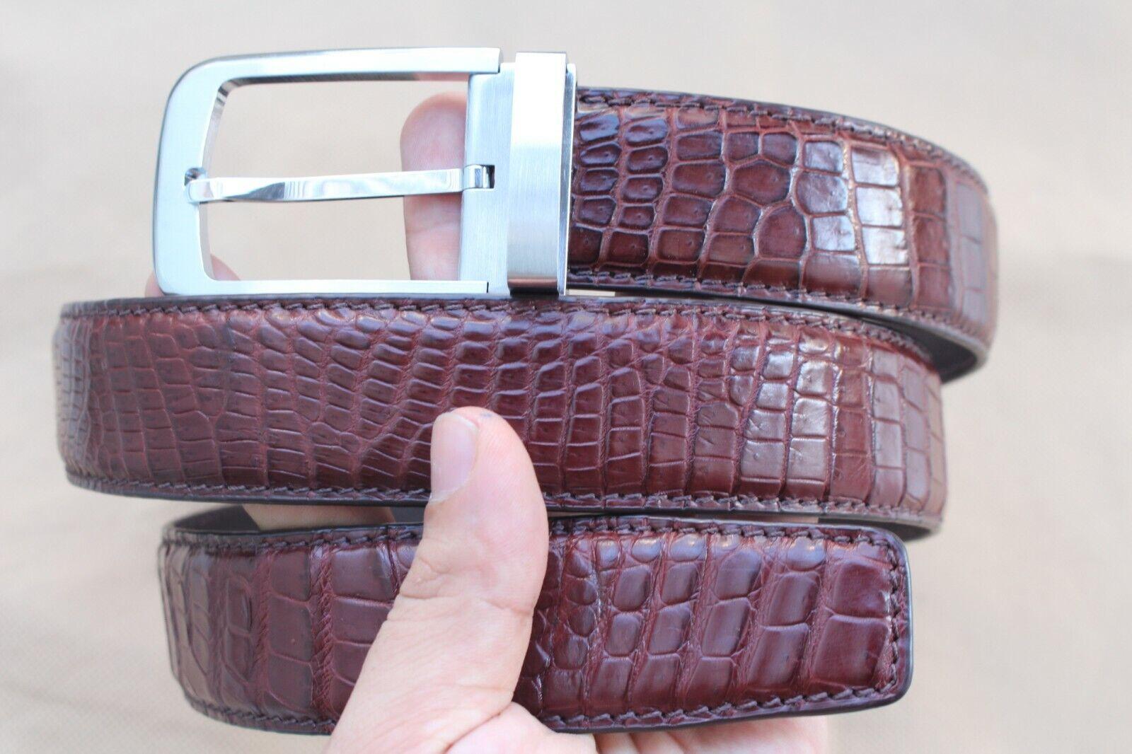 Black Genuine Alligator Crocodile Leather Skin Men/'s Belt #TGN431