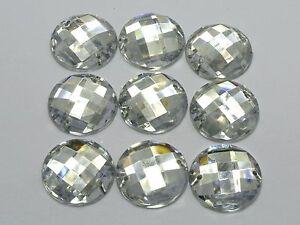 50-Clear-Acrylic-Flatback-Sewing-Rhinestone-Round-Button-20mm-Sew-on-beads