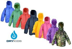 DRY-KIDS-Childrens-Packaway-Waterproof-Jacket-Unisex-Girls-and-Boys-Rain-Coat