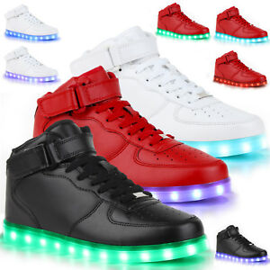 blinkende herren sneakers high led light farbwechsel 78314 led licht schuhe ebay. Black Bedroom Furniture Sets. Home Design Ideas
