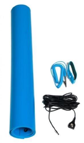 Bertech 1059-18x36BKT Blue Vinyl ESD Mat Kit with a Wrist Strap and...