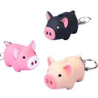 3pcs Pig Led Keychain Keyring With Oink Sound & Light Random Color Us Stock