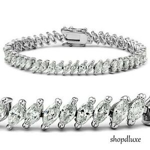 11-50-CT-MARQUISE-CUT-CUBIC-ZIRCONIA-925-STERLING-SILVER-7-034-TENNIS-BRACELET