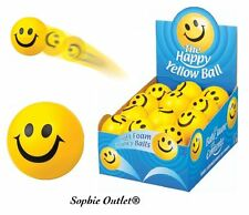 Kids Yellow Foam Happy Ball Smiley Face Stress Relief Squeeze Bouncy Fidget Toy