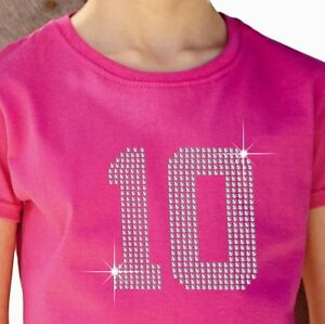 Girl-039-s-T-Shirt-12-Colours-Rhinestone-Diamante-034-Any-2-Numbers-034-3-15-Yrs