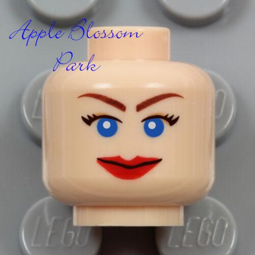 NEW Lego Light Flesh FEMALE MINIFIG HEAD Elsa Red Lips Big Smile Girl Blue Eyes
