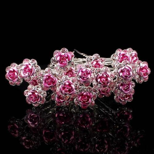 Haarnadeln X10 X20 Blumen Emaille Metall Strass Braut 13 Farben Gold Choko Blau